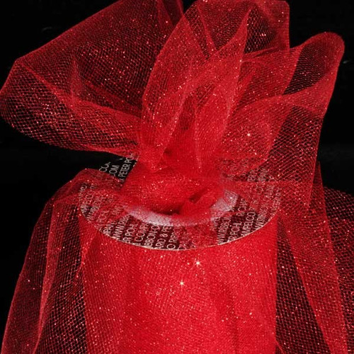 """Ruby Red Glitter Contemporary Tulle Craft Ribbon 6"""" x 110 Yards - IMAGE 1"""