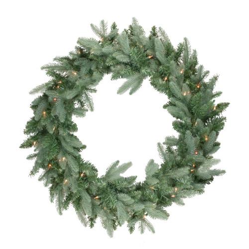 Pre-Lit Washington Frasier Fir Artificial Christmas Wreath - 24-Inch, Clear Lights - IMAGE 1