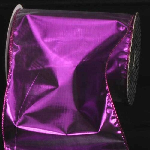 """Purple Shiny Solid Wired Craft Ribbon 6"""" x 80 Yards - IMAGE 1"""