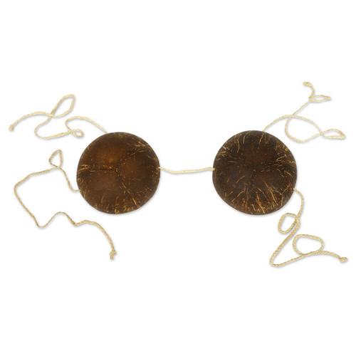 Club Pack of 12 Brown Adjustable Adult Women Coconut Bikini Top Luau Costume Accessories - One Size - IMAGE 1
