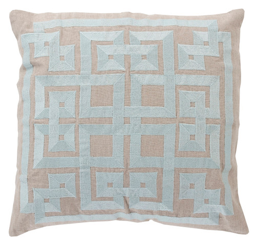 """22"""" Aqua Blue and Abalone Gray Square Throw Pillow - Down Filler - IMAGE 1"""