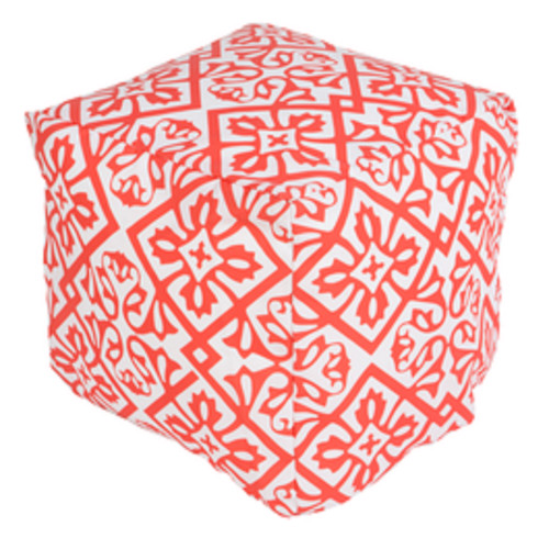 """18"""" Rose Red and Antique White Floral Star Square Outdoor Patio Pouf Ottoman - IMAGE 1"""