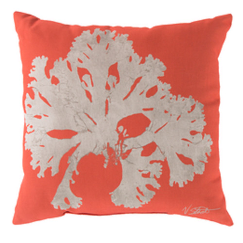 "20"" Orange and Beige Contemporary Arbol Square Throw Pillow Cover - IMAGE 1"