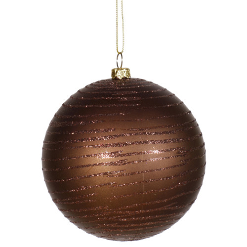 "2-Finish Chocolate Brown Shatterproof Christmas Ball Ornament 4"" (100mm) - IMAGE 1"