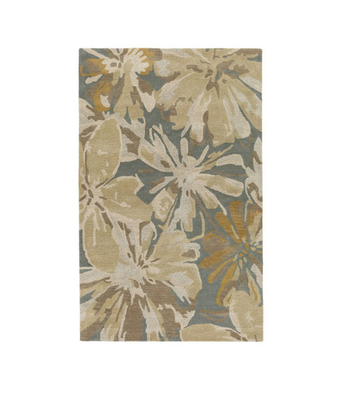 6' x 9' Floral Beige and Blue Hand Tufted Contemporary Wool Area Throw Rug - IMAGE 1