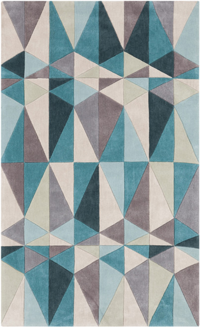 2' x 3' Mid-Century Geo Prism Teal Blue and Gray Hand Tufted Area Throw Rug - IMAGE 1