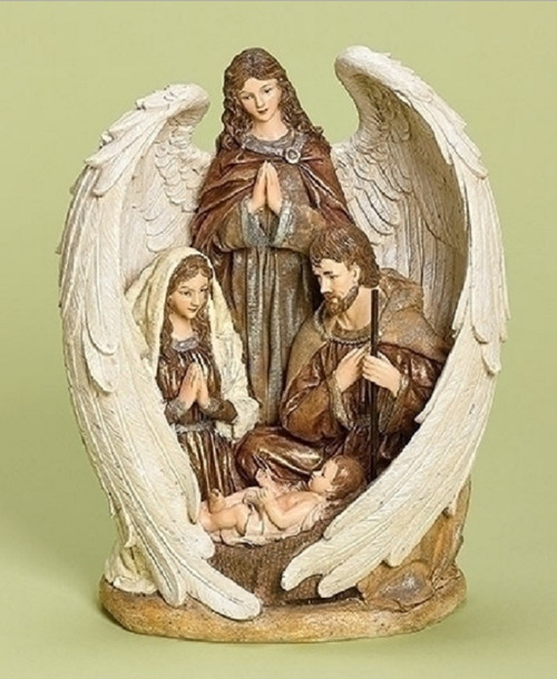 """12.5"""" Brown and White Inspirational Holy Family with Angel Christmas Nativity Figurine - IMAGE 1"""