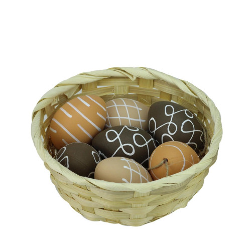 """Set of 7 Brown Natural Tone Painted Design Easter Egg Ornaments 2.25"""" - IMAGE 1"""