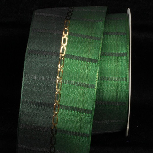 """Hunter Green and Gold Link Printed Wired Craft Ribbon 2.5"""" x 27 Yards - IMAGE 1"""