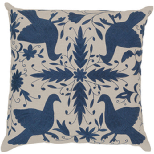 """20"""" Abalone Gray and Navy Blue Square Throw Pillow - Down Filler - IMAGE 1"""