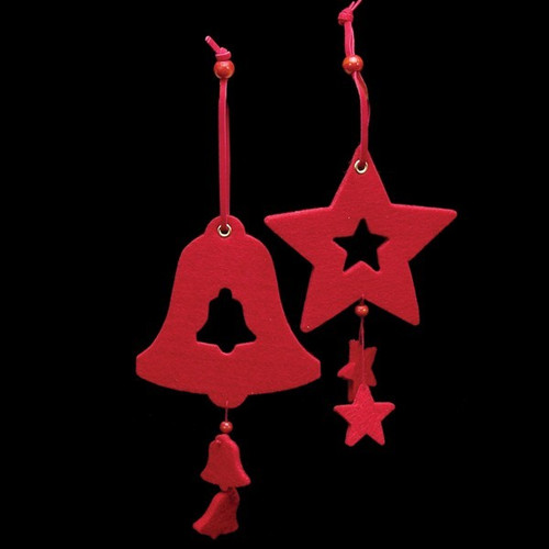 Club Pack of 18 Bright Red Color Bell and Star Felt Ornaments - IMAGE 1