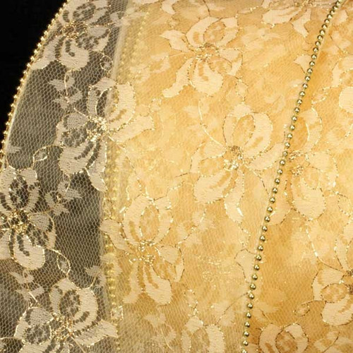 """Gold Designer Lace Wired Craft Ribbon 5"""" x 20 Yards - IMAGE 1"""