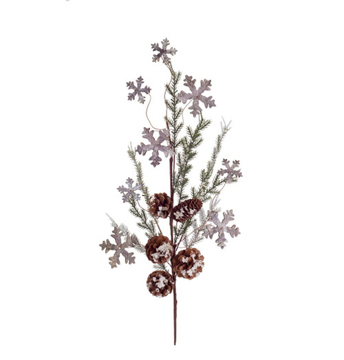 """28"""" Brown and Green Artificial Christmas Cedar Spray with Snowflakes and Pine Cones - IMAGE 1"""