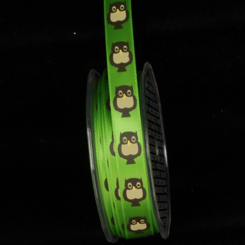 """Green and Brown Owl Wired Craft Ribbon 0.5"""" x 54 Yards - IMAGE 1"""