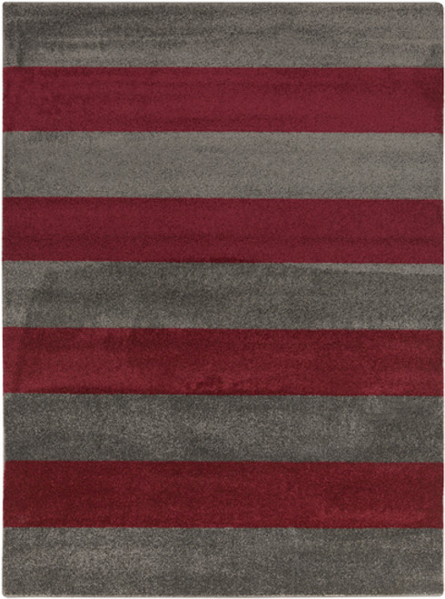 9.25' x 12.5' Bold Stripes Ruby Red and Gray Rectangular Area Throw Rug - IMAGE 1