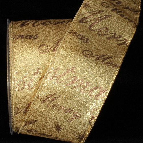 "Gold Merry Christmas Wired Craft Ribbon 2.5"" x 20 Yards - IMAGE 1"