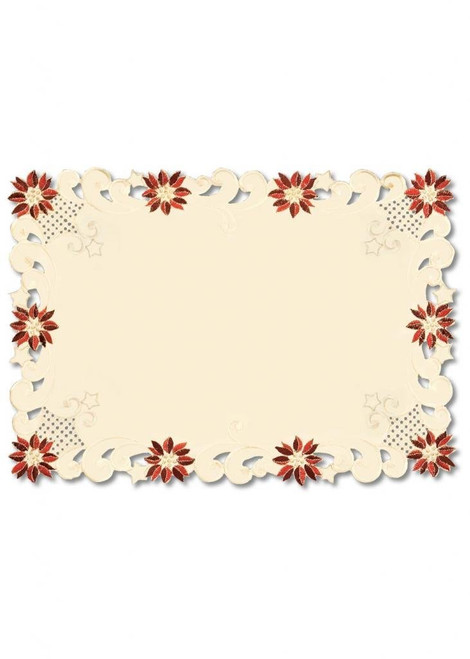 """Set of 4 Beige Embroidered Floral Christmas Table Placemats 14"""" x 20"""" - IMAGE 1"""