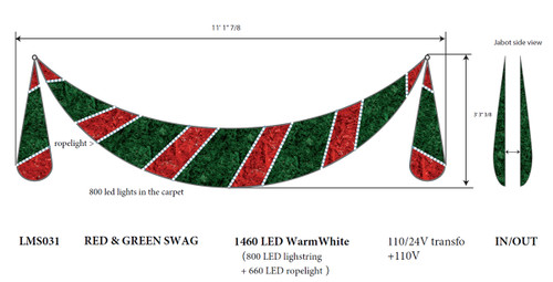 11' Commercial Grade LED Lighted Zurich Swag Christmas Decoration Display -  31106401 - Set Of Swag Style Christmas Lights With Red Shimmering Bow - White