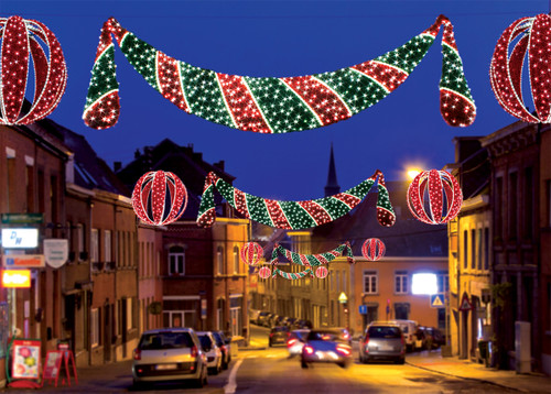 11' Commercial Grade LED Lighted Zurich Swag Christmas Decoration Display - IMAGE 1