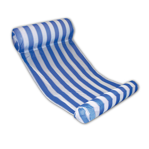 Blue and White Striped Inflatable Water Hammock Swimming Pool Lounger - IMAGE 1
