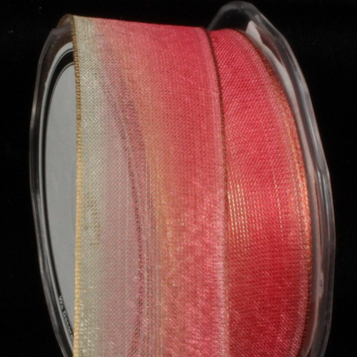 "Cherry Red and Gold Ombre Metallic Wired Craft Ribbon 1.5"" x 27 Yards - IMAGE 1"