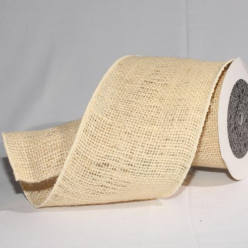 "Beige Burlap Wired Craft Ribbon 5"" x 10 Yards - IMAGE 1"