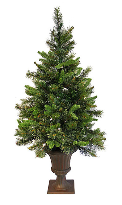 3.5' Pre-Lit Potted Mixed Pine Cashmere Full Artificial Christmas Tree - Clear Lights - IMAGE 1