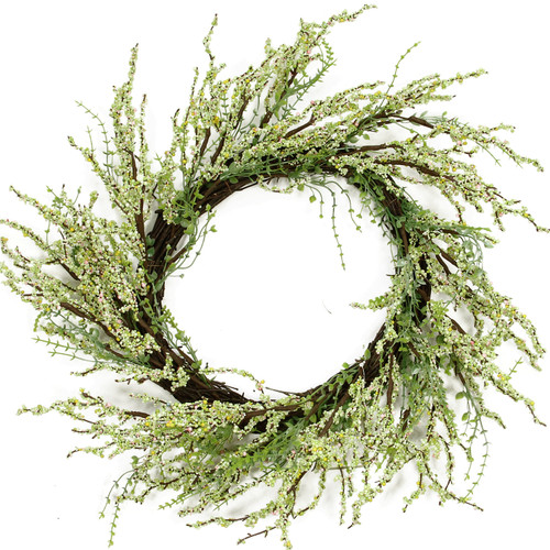 Berry Twig Artificial Wreath, Green and Brown 12-Inch - IMAGE 1
