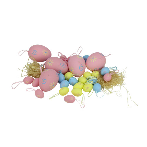 "Set of 29 Pastel Pink and Yellow Spring Easter Egg Ornaments 3.25"" - IMAGE 1"