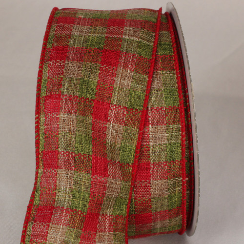"""Red and Green Plaid Wired Craft Ribbon 2.5"""" x 40 Yards - IMAGE 1"""