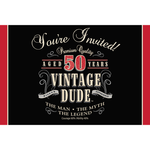 """Club Pack of 48 Black and Red """"VINTAGE DUDE"""" Gatefold Party Invitations 6"""" - IMAGE 1"""