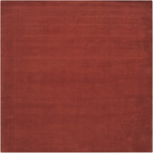 9.75' x 9.75' Orange Solid Hand-Loomed Wool Square Area Throw Rug - IMAGE 1