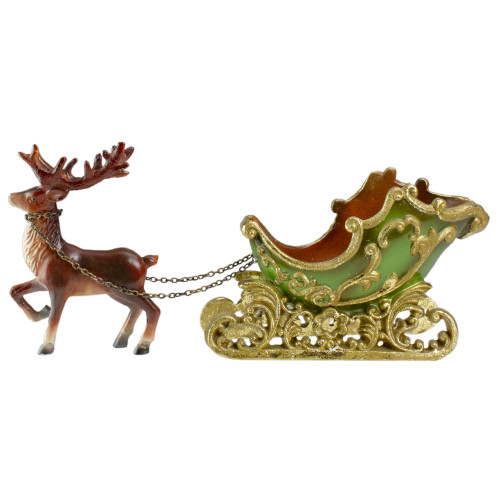 """8.5"""" Green and Gold Sleigh with Reindeer Christmas Table Top Decor - IMAGE 1"""