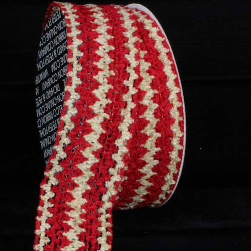 """Red and Beige Chevron Wired Craft Ribbon 1.5"""" x 40 Yards - IMAGE 1"""