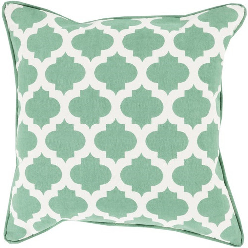"22"" Fern Green and White Moroccan Lattice Square Throw Pillow - IMAGE 1"