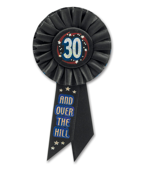 """Pack of 6 Black """"30 and Over The Hill"""" Birthday Celebration Rosette Ribbons 6.5"""" - IMAGE 1"""