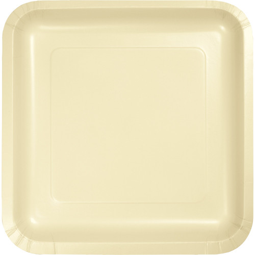 """Pack of 180 Ivory Premium Square Paper Party Dinner Plates 9"""" - IMAGE 1"""