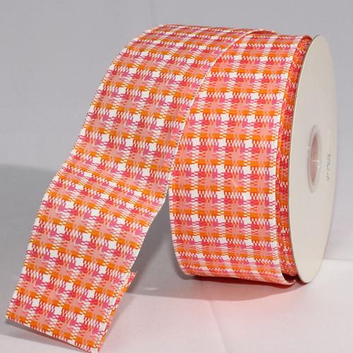 "Orange and Yellow Checkered Wired Craft Ribbon 2"" x 20 Yards - IMAGE 1"