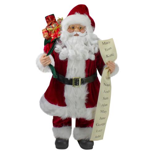"24"" Santa Claus with Naughty or Nice List and Bag of Presents Christmas Figure - IMAGE 1"