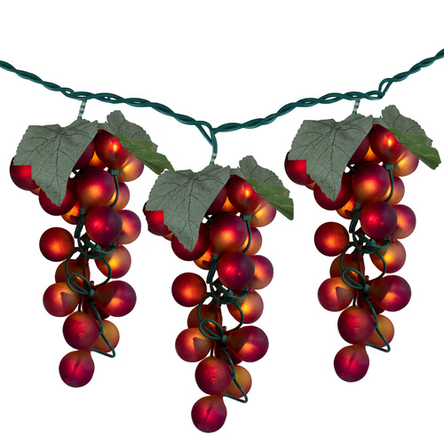 100-Count Red Winery Grape Patio Novelty Christmas Light Set, 5ft Green Wire - IMAGE 1