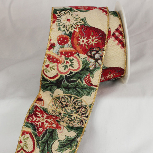 """Forest Green and Wine Red Holiday Wired Craft Ribbon 4"""" x 9 Yards - IMAGE 1"""