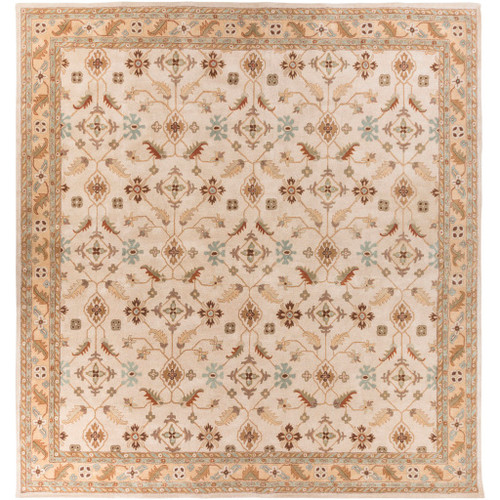 8' x 8' Sand Brown and Olive Gray Hand Tufted Square Wool Area Throw Rug - IMAGE 1