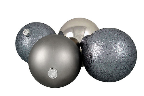 """4ct Pewter Gray Shatterproof 4-Finish Christmas Ball Ornaments 6"""" (150mm) - IMAGE 1"""