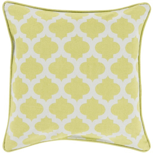 """20"""" Yellow and White Moroccan Square Throw Pillow - IMAGE 1"""