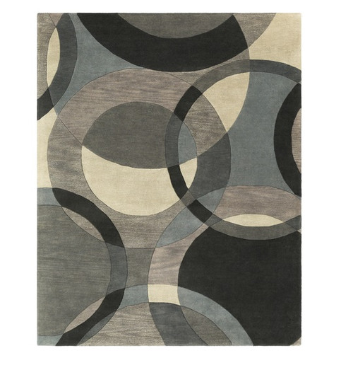 7.5' x 9.5' Senzei Spheres Gray and Black Hand Tufted Rectangular Wool Area Throw Rug - IMAGE 1