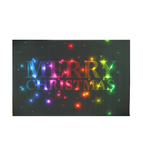 """LED Lighted Multi-Colored """"Merry Christmas"""" Canvas Wall Art 8"""" x 12"""" - IMAGE 1"""