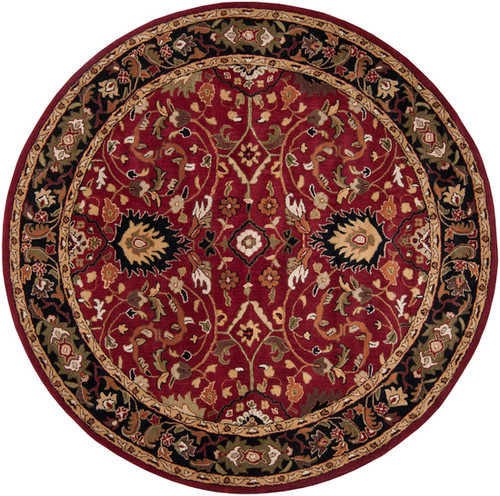 8' Burgundy Red and Black Hand Tufted Wool Area Throw Rug - IMAGE 1