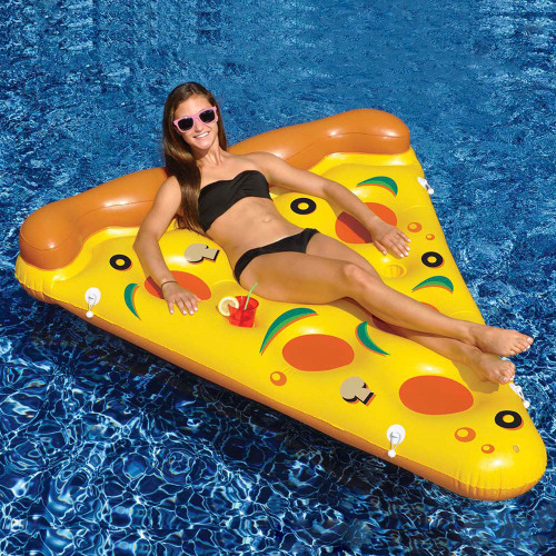 """72"""" Inflatable Yellow and Orange Pizza Slice Swimming Pool Float Raft - IMAGE 1"""