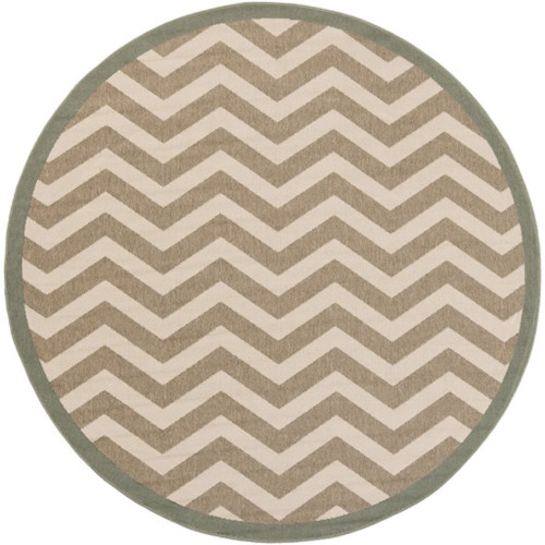 8.75' Beige and White Machine Woven Round Outdoor Area Throw Rug - IMAGE 1