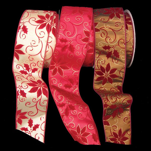"""Ivory and Red Poinsettia Print Floral Wired Craft Ribbon 2.5"""" x 20 Yards - IMAGE 1"""